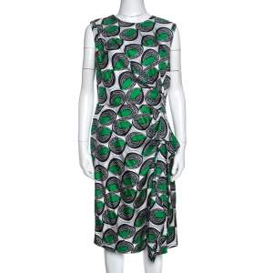 Diane Von Furstenberg Green Printed Silk Ruffled Talba Dress L