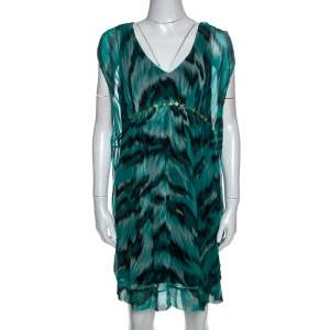 Diane Von Furstenberg Green Printed Silk Embellished Simea Dress M