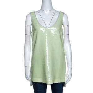 Diane Von Furstenberg Light Green Sequined Desta Tank Top M