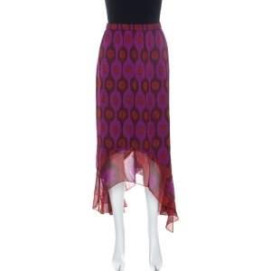 Diane Von Furstenberg Purple Print Silk Asymmetric Louella Skirt M