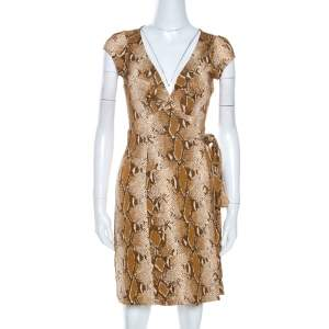Diane Von Furstenberg Brown Snake Print Silk Kye Wrap Dress S