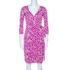 Diane Von Furstenberg Pink Printed Silk New Julian Two Wrap Dress XS