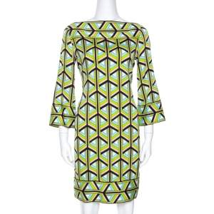 Diane Von Furstenberg Green Printed Silk Andati Shift Dress S