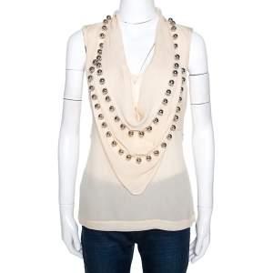 Diane Von Furstenberg Cream Silk Silver Balls Embellished Amya Solid Top L