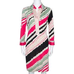 Diane Von Furstenberg Multicolor Printed Silk Jersey Polo Dress M