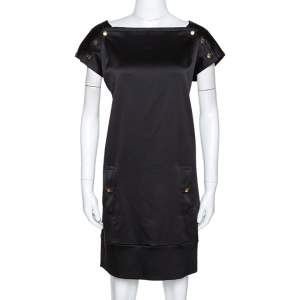 Diane von Furstenberg Black Textured Silk Pisco Shift Dress M