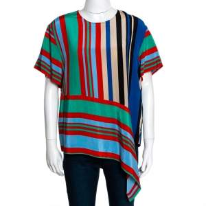 Diane Von Furstenberg Multicolor Striped Silk Top M