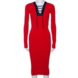 Diane Von Furstenberg Bright Red Rib Knit Lace Up Midi Dress XXS
