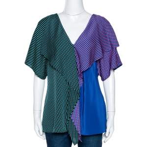 Diane von Furstenberg Blue Printed Color Block Silk Ruffled Blouse L