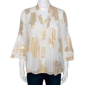 Diane von Furstenberg Cream Brocade Silk Pleated Layla Top M