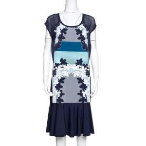 Diane Von Furstenberg Admiral Navy & Ivory Intarsia Knit Jalen Dress L