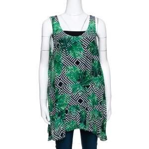 Diane Von Furstenberg Green Cotton Poplin Graphic Leaf Print Sleeveless Top S