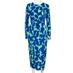 Diane von Furstenberg Blue & Green Printed Stretch Silk Midi Dress M