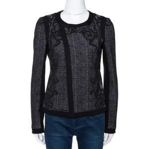Diane Von Furstenberg Monochrome Textured Knit Jacket S