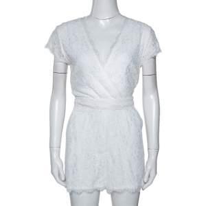 Diane von Furstenberg White Purdette Lace Wrap Romper S
