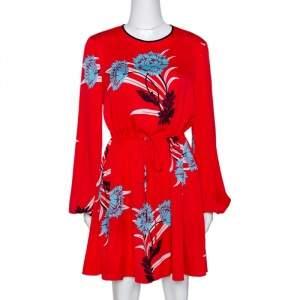 Diane von Furstenberg Red Floral Print Stretch Silk Mini Dress M