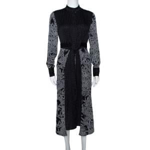 Diane Von Furstenberg Black Printed Stretch Silk Buttoned Wrap Dress XS