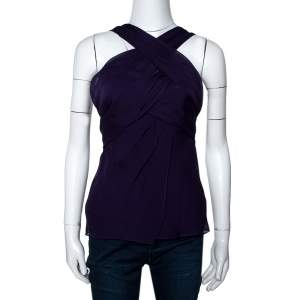 Diane Von Furstenberg Purple Silk Draped Nikki Top S
