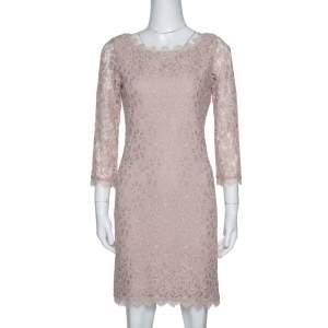 Diane von Furstenberg Beige Lace Zarita Shift Dress M