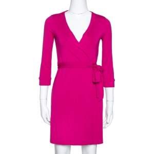 Diane von Furstenberg New Julian Two Mini Pink Dahlia Wrap Dress S