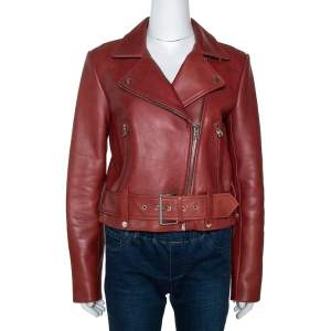 Diane von Furstenberg Wine Red Leather Cropped Biker Jacket M