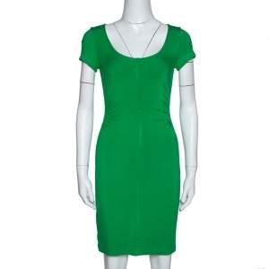 Diane Von Furstenberg Green Stretch Jersey Ruched Bally Dress P