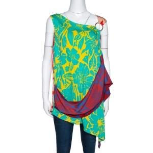 Diane von Furstenberg Multicolor Floral Print Silk Shell Top L