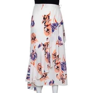 Diane von Furstenberg Ivory Printed Silk Ruffled Faux Wrap Skirt L