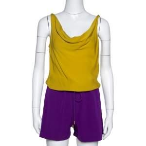 Diane von Furstenberg Color Block Silk Crepe Tadd Romper S