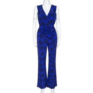 Diane von Furstenberg Royal Blue Printed Silk Sleeveless Jumpsuit S