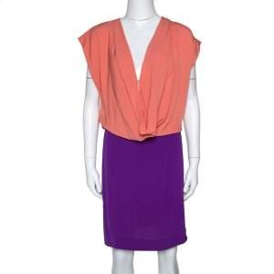 Diane von Furstenberg Two Tone Silk Crepe Reara Draped Dress M