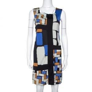 Diane von Furstenberg Color Block Print Silk Mondrian Shift Dress S