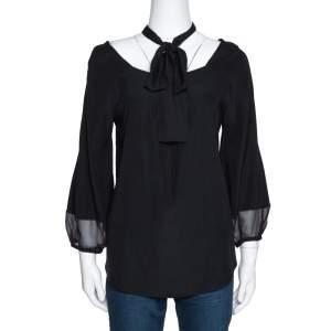 Diane von Furstenberg Black Silk Neck Tie Detail Blouse M