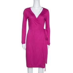 Diane von Furstenberg Fuchsia Pink Jersey New Julian LS Wrap Dress S