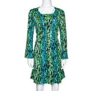 Diane Von Furstenberg Blue & Green Animal Print Silk Jersey Gaby Dress S
