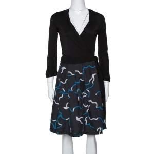 Diane von Furstenberg Black Printed Wool & Silk Jewel Wrap Dress M
