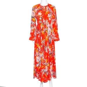 Diane von Furstenberg Red Printed Silk Bethany Cinch Sleeve Maxi Dress XS
