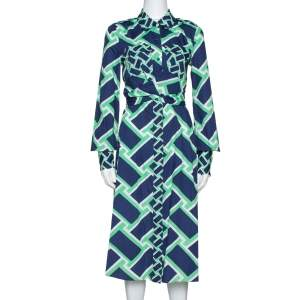 Diane von Furstenberg Navy Blue Printed Cotton Jeri Twist Front Dress S