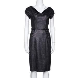 Diane von Furstenberg Black Lurex Wool Blend Ellen Marie Dress S
