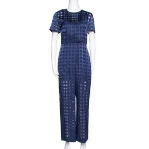 Diane von Furstenberg Navy Blue Check Patterned Satin Jumpsuit M