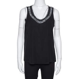 Diane Von Furstenberg Black Crystal Embellished Silk Ade Top S