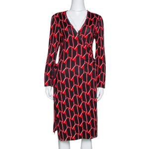 Diane von Furstenberg Black & Red Printed Silk Linda Wrap Dress M