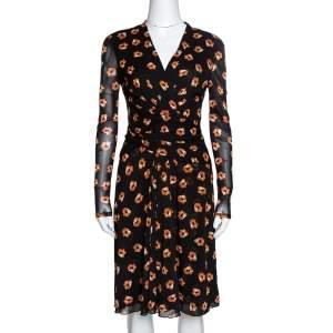 Diane von Furstenberg Black & Orange Floral Print Wrap Dress S
