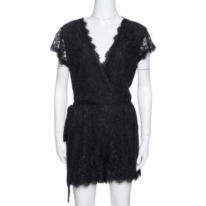 Diane Von Furstenberg Black Purdette Lace Romper L