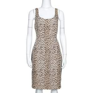 Diane von Furstenberg Cream Animal Pattern Jacquard Arianna Fitted Dress L