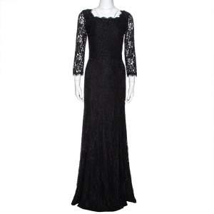 Diane von Furstenberg Black Lace Zarita Gown S