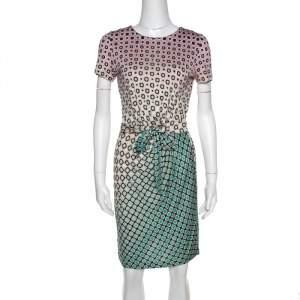 Diane von Furstenberg Multicolor Geometric Print Zoe Faux Wrap Dress M