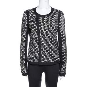 Diane Von Furstenberg Black & Cream Textured Knit Patricia Hounds Jacket L