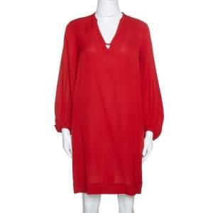 Diane Von Furstenberg Brick Red Silk Crepe Tanyana Dress S