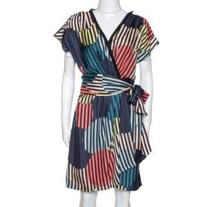 Diane von Furstenberg Multicolor Printed Silk Belted Rilla Dress L